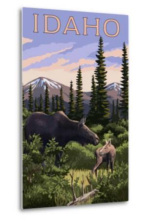 Idaho - Moose and Baby-Lantern Press-Metal Print