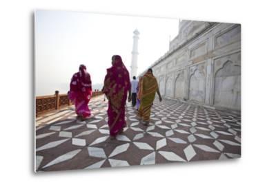 Visitors Approach a Minaret-Michael Melford-Metal Print