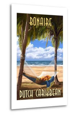 Bonaire, Dutch Caribbean - Hammock and Palms-Lantern Press-Metal Print
