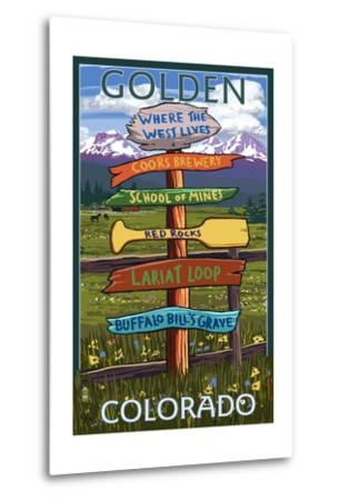 Golden, Colorado - Sign Destinations-Lantern Press-Metal Print
