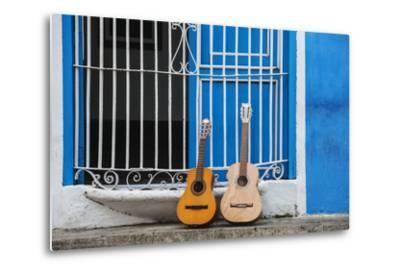 Santiago De Cuba Province, Historical Center, Calle Heredia, Guitars by Balcony-Jane Sweeney-Metal Print