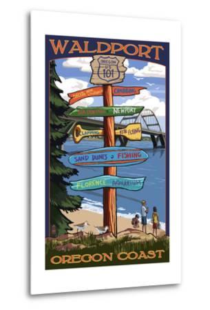 Waldport, Oregon - Sign Destinations #2-Lantern Press-Metal Print