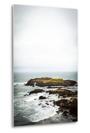 Rain over the Pacific Ocean and Rocky Outcrops on the Big Sur Coast-Keith Barraclough-Metal Print