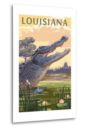 Louisiana - Alligator and Baby-Lantern Press-Metal Print