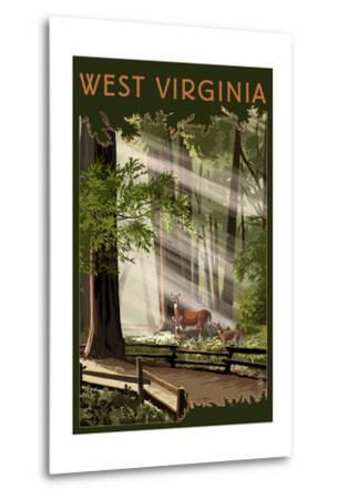 West Virginia - Deer and Fawns-Lantern Press-Metal Print