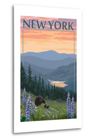 New York - Bear and Spring Flowers-Lantern Press-Metal Print