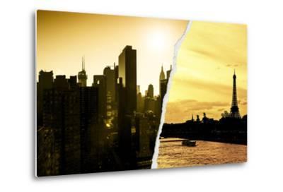 Dual Torn Posters Series - Paris - New York-Philippe Hugonnard-Metal Print