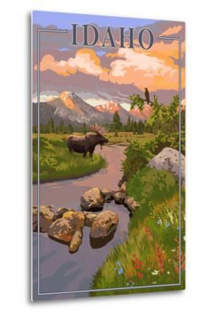 Idaho - Moose and Sunset-Lantern Press-Metal Print