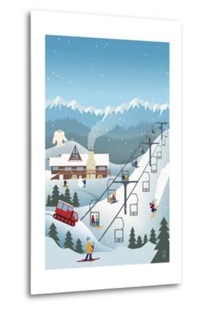 Retro Ski Resort-Lantern Press-Metal Print