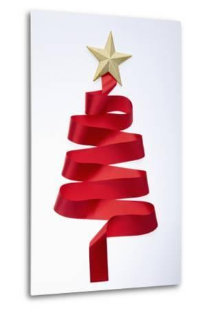 The Tree Shaped Red Tie and Gold Star--Metal Print
