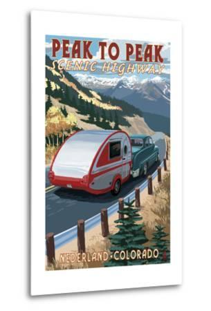 Colorado - Fall Retro Camper-Lantern Press-Metal Print