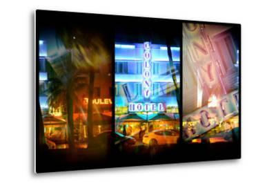 Triptych Collection - Miami Beach Art Deco District - The Colony Hotel by Night-Philippe Hugonnard-Metal Print