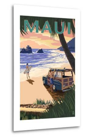 Woody and Beach - Maui, Hawaii-Lantern Press-Metal Print