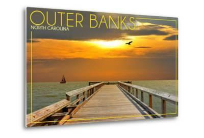 Outer Banks, North Carolina - Ocean and Sunset-Lantern Press-Metal Print