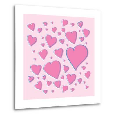 Vector Pink Hearts-skoo-Metal Print