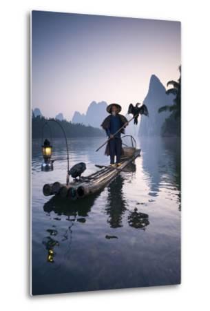 China, Guanxi, Yangshuo. Old Chinese Fisherman-Matteo Colombo-Metal Print