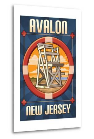Avalon, New Jersey - Lifeguard Chair-Lantern Press-Metal Print