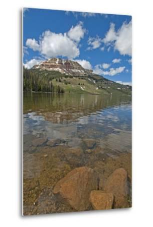 Beartooth Butte Reflects in Beartooth Lake in the Absaroka Range-Gordon Wiltsie-Metal Print