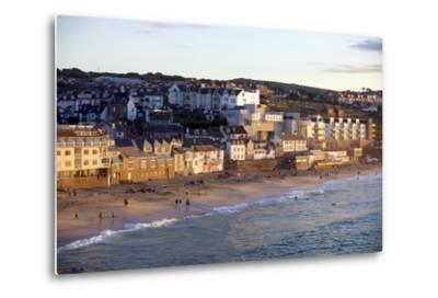 Overlooking Porthmeor Beach in St. Ives at Sunset, Cornwall, England, United Kingdom, Europe-Simon Montgomery-Metal Print