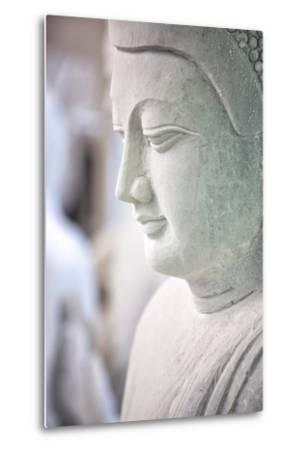 Marble Buddha Images Waiting to Be Finished at a Stone Carver's in Amarapura-Lee Frost-Metal Print