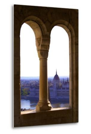 View of Hungarian Parliament Building from Fisherman's Bastion, Budapest, Hungary, Europe-Neil Farrin-Metal Print