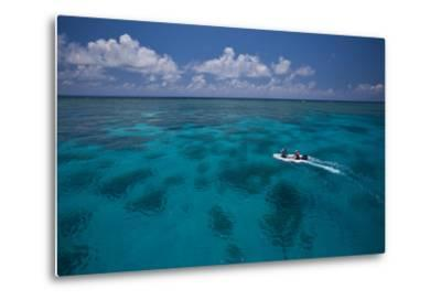 A Dinghy at the Great Barrier Reef-Michael Melford-Metal Print