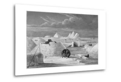 Illustration of Inuits Building an Igloo-Edward Finden-Metal Print