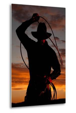 Cowboy in Sunset with Rope-Alan and Vicena Poulson-Metal Print