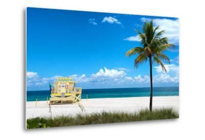 South Miami Beach Landscape with Life Guard Station - Florida-Philippe Hugonnard-Metal Print