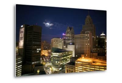 Downtown Detroit's Skyscrapers Touch the Night Sky-Melissa Farlow-Metal Print