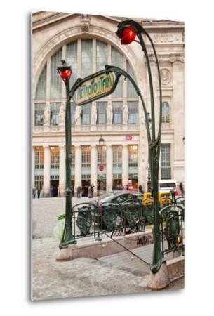 The Art Nouveau Entrance to Gare Du Nord Metro Station with the Main Railway Station Behind-Julian Elliott-Metal Print