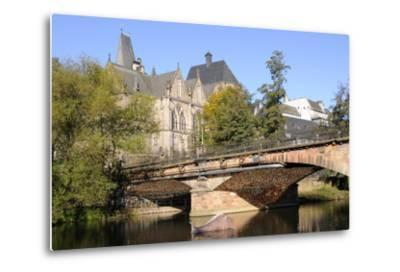 Bridge over the Lahn River and Medieval Old University Buildings, Marburg, Hesse, Germany, Europe-Nick Upton-Metal Print