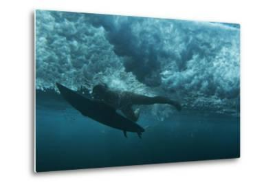 Underwater View of a Surfer in Waipi'O Bay-Chris Bickford-Metal Print