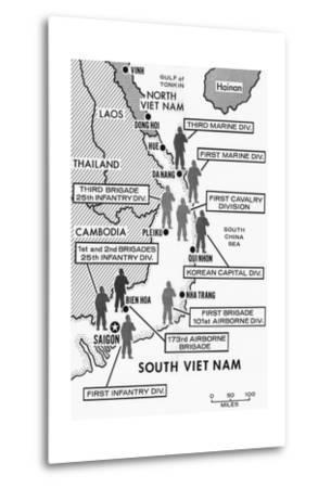 Map Showing Divisions in the Vietnam War--Metal Print