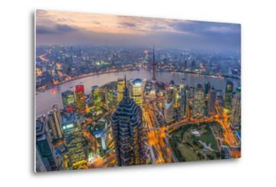 China, Shanghai, View over Pudong Financial District, Huangpu River Beyond-Alan Copson-Metal Print