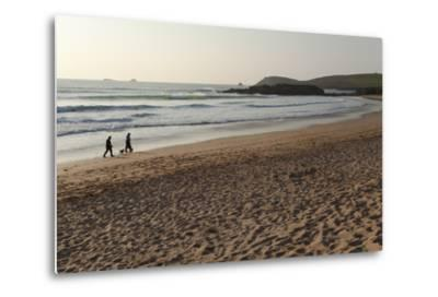 The Sands of Constantine Bay, Looking Towards Trevose Head, Shortly before Sunset, Near Padstow-Nigel Hicks-Metal Print