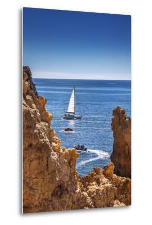 Sailing Boat, Ponta De Piedade, Lagos, Algarve, Portugal-Sabine Lubenow-Metal Print