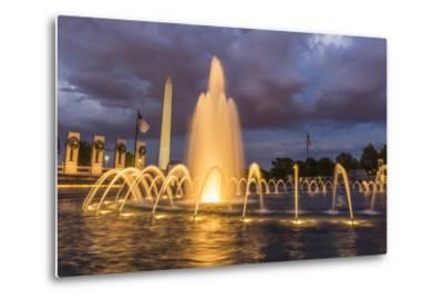 The Washington Monument Lit Up at Night as Seen from the World War Ii Monument-Michael Nolan-Metal Print