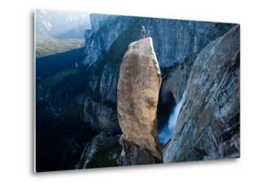 A Climber on Top of the Lost Arrow Spire in Yosemite National Park, and His Partner Far Below-Ben Horton-Metal Print