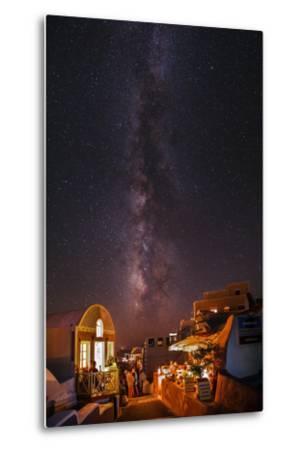 The Milky Way from Scorpius and Sagittarius, to Cygnus at Top, over Candle-Lit Restaurants-Babak Tafreshi-Metal Print