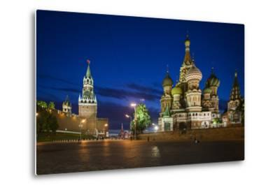 Spasskaya Tower, also Called Savior's Tower, and Saint Basil's Cathedral at Night-Kent Kobersteen-Metal Print