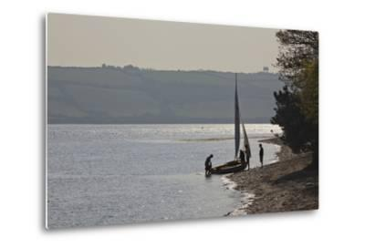 Launching a Sailing Dinghy at Mylor, on Carrick Roads, the Estuary of the River Fal, Near Falmouth-Nigel Hicks-Metal Print