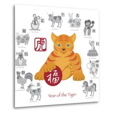 Chinese New Year Tiger Color with Twelve Zodiacs Illustration-jpldesigns-Metal Print