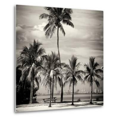 Paradisiacal Beach overlooking Downtown Miami - Florida-Philippe Hugonnard-Metal Print