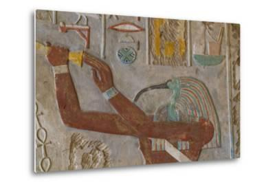 The God Thoth in a Relief Portrait at the Temple of Karnak-Michael Melford-Metal Print