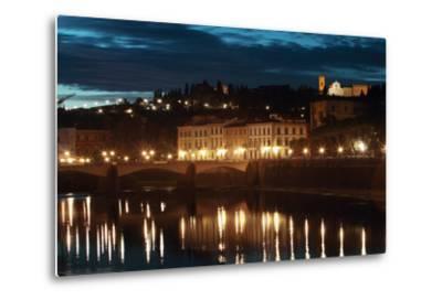 A Bridge and Reflections in the Arno River at Dawn-Joe Petersburger-Metal Print