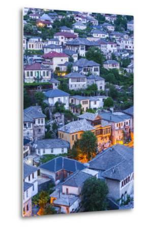 Albania, Gjirokastra, Elevated View of Ottoman-Era Houses, Dawn-Walter Bibikow-Metal Print