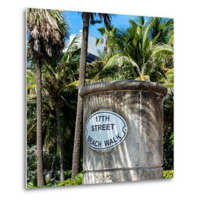 Beach Walk Sign - 17th Street - Miami Beach - Florida-Philippe Hugonnard-Metal Print