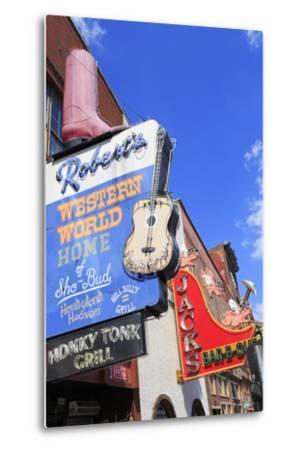 Signs on Broadway Street, Nashville, Tennessee, United States of America, North America-Richard Cummins-Metal Print