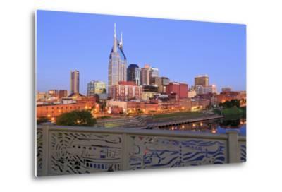 Nashville Skyline and Shelby Pedestrian Bridge-Richard Cummins-Metal Print